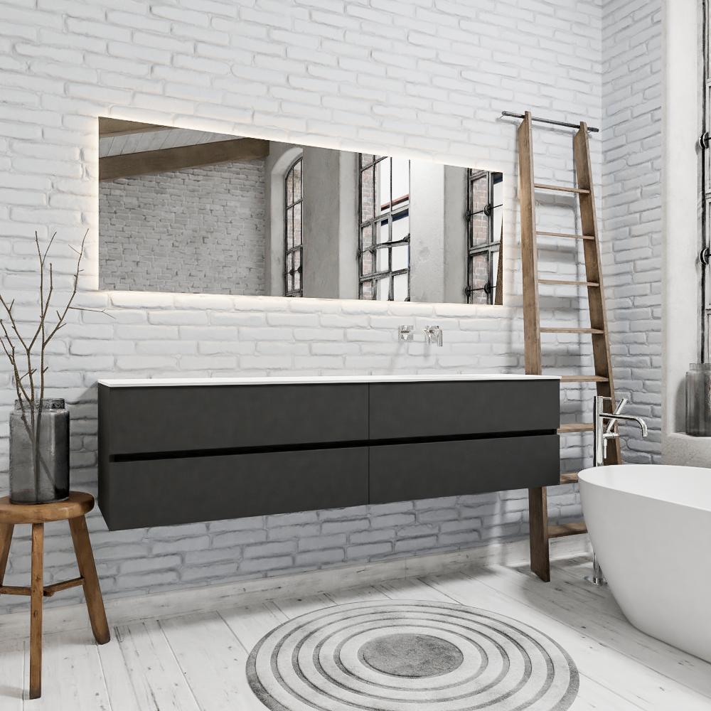 Zaro Sevilla Solid Surface badmeubel 200cm mat antraciet zonder kraangat spoelbak rechts met 4 lades