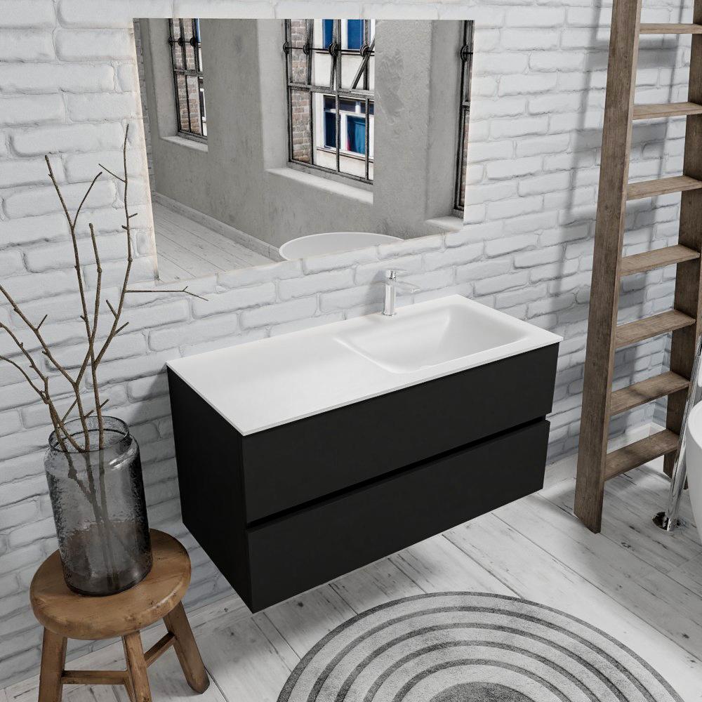 Zaro Valencia mat zwart badmeubel 100cm met Solid Surface wastafel 1 kraangat spoelbak rechts 2 lade