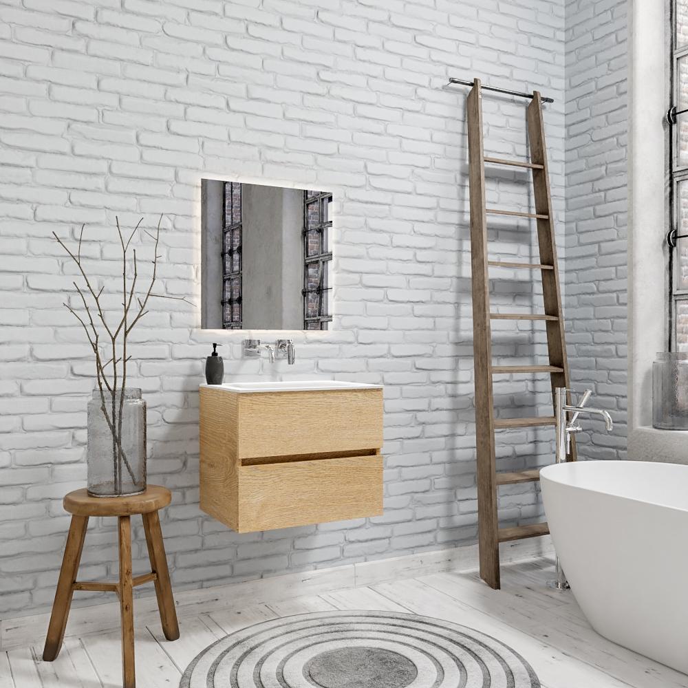 Zaro Valencia Solid Surface badkamermeubel 60cm licht eiken zonder kraangat met 2 lades
