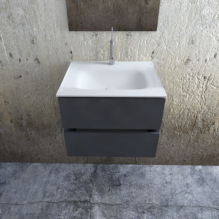 Zaro Valencia Solid Surface badkamermeubel 60cm mat antraciet 1 kraangat