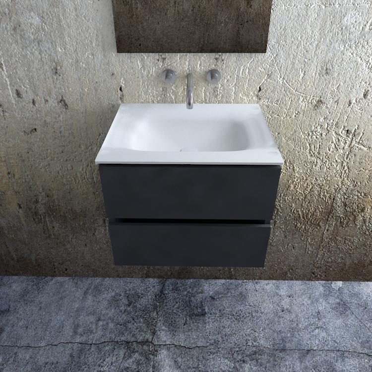 Zaro Valencia Solid Surface badkamermeubel 60cm mat antraciet zonder kraangat