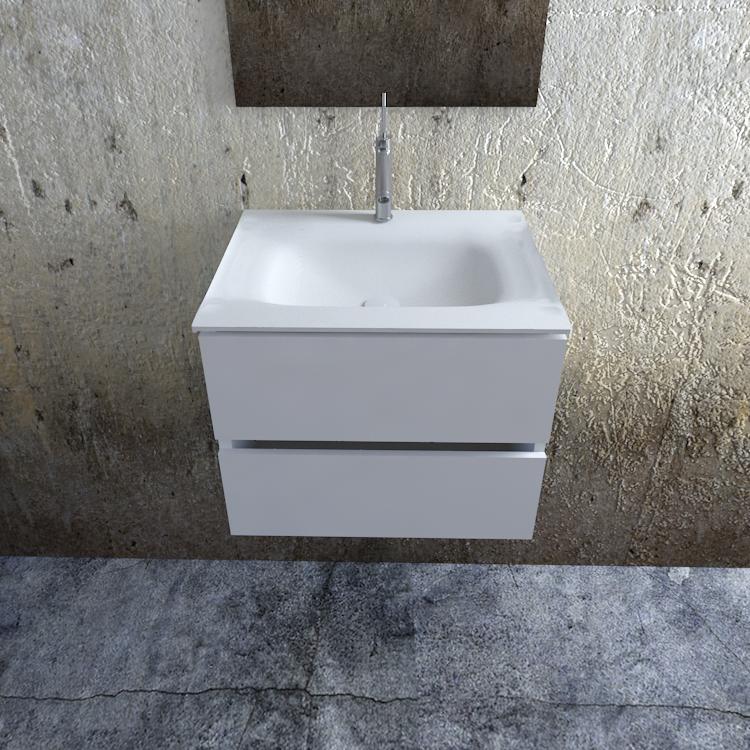 Zaro Valencia Solid Surface badkamermeubel 60cm mat wit 1 kraangat