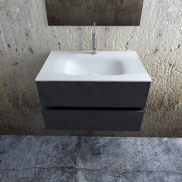 Zaro Valencia Solid Surface badkamermeubel 80cm mat antraciet 1 kraangat
