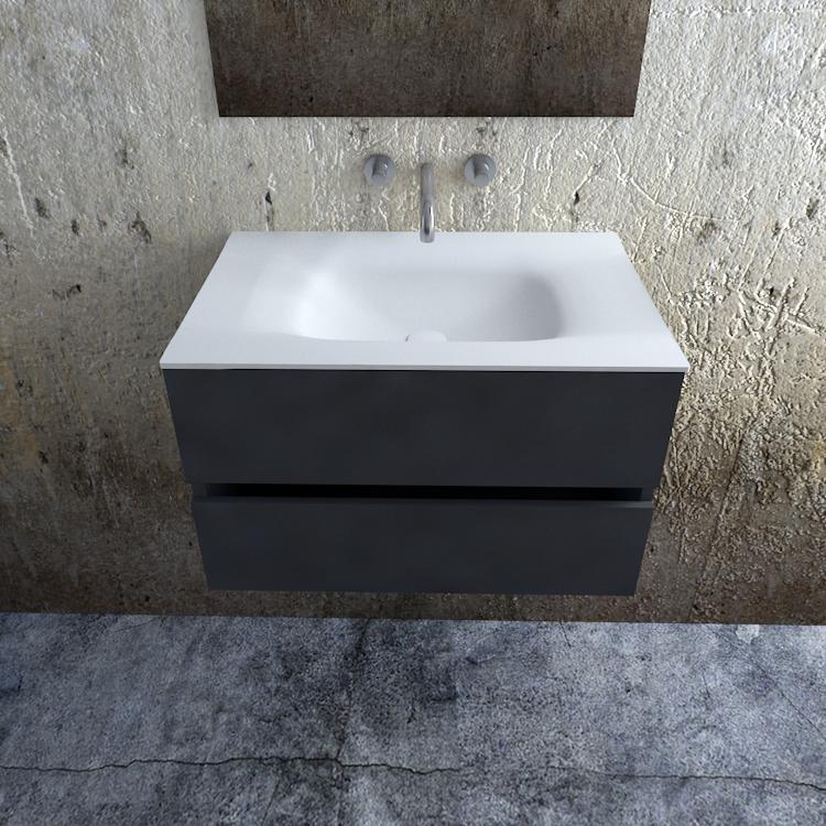 Zaro Valencia Solid Surface badkamermeubel 80cm mat antraciet zonder kraangat
