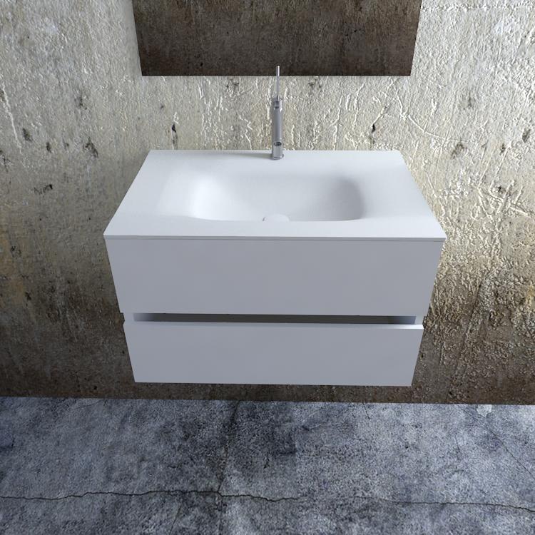 Zaro Valencia Solid Surface badkamermeubel 80cm mat wit 1 kraangat