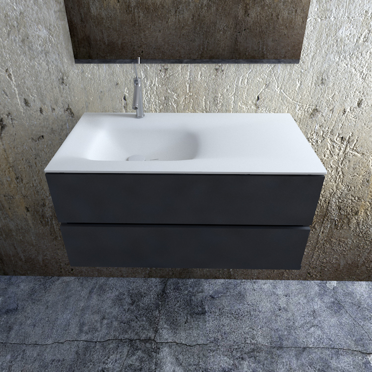 Zaro Valencia Solid Surface badmeubel 100cm mat antraciet 1 kraangat spoelbak links