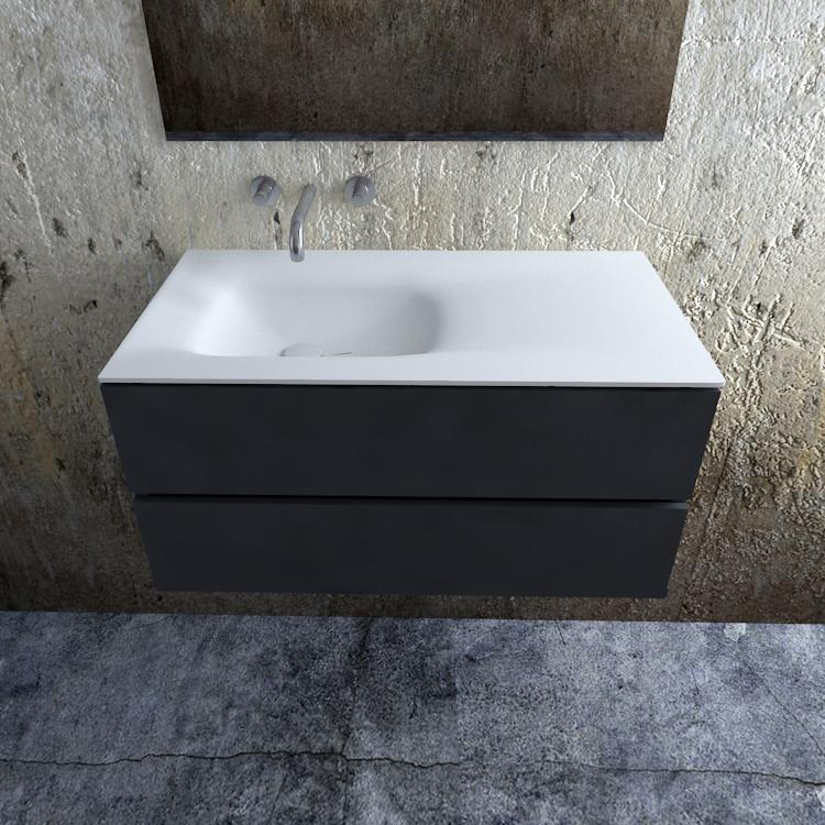 Zaro Valencia Solid Surface badmeubel 100cm mat antraciet zonder kraangat spoelbak links