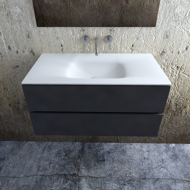 Zaro Valencia Solid Surface badmeubel 100cm mat antraciet zonder kraangat spoelbak midden