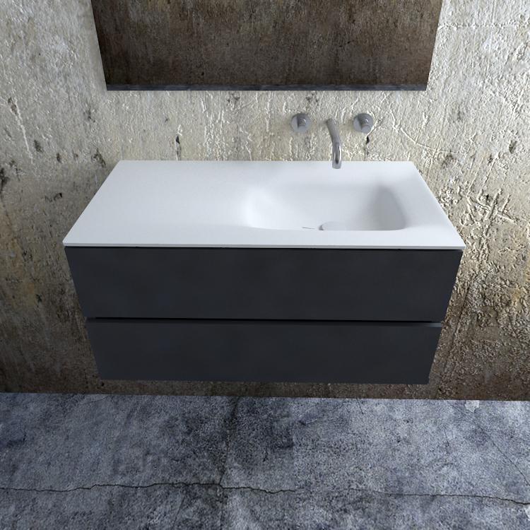 Zaro Valencia Solid Surface badmeubel 100cm mat antraciet zonder kraangat spoelbak rechts