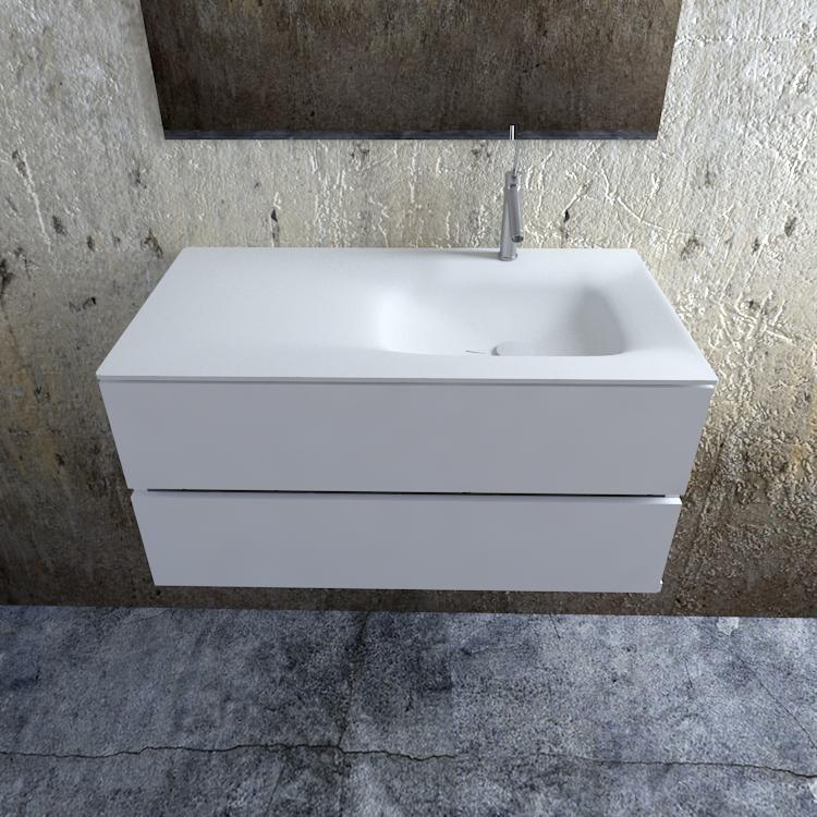 Zaro Valencia Solid Surface badmeubel 100cm mat wit 1 kraangat spoelbak rechts