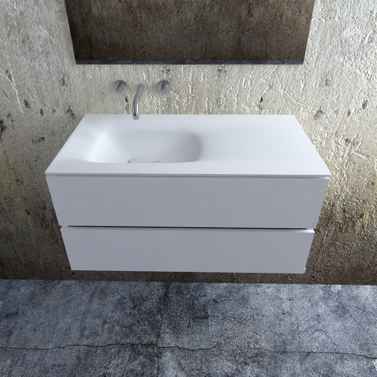 Zaro Valencia Solid Surface badmeubel 100cm mat wit zonder kraangat spoelbak links