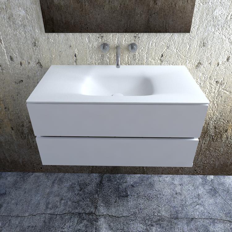 Zaro Valencia Solid Surface badmeubel 100cm mat wit zonder kraangat spoelbak midden