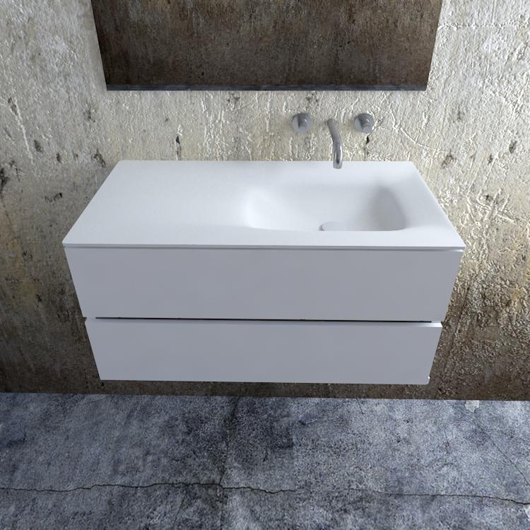 Zaro Valencia Solid Surface badmeubel 100cm mat wit zonder kraangat spoelbak rechts