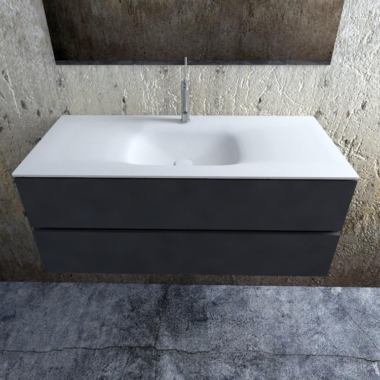 Zaro Valencia Solid Surface badmeubel 120cm mat antraciet 1 kraangat spoelbak midden