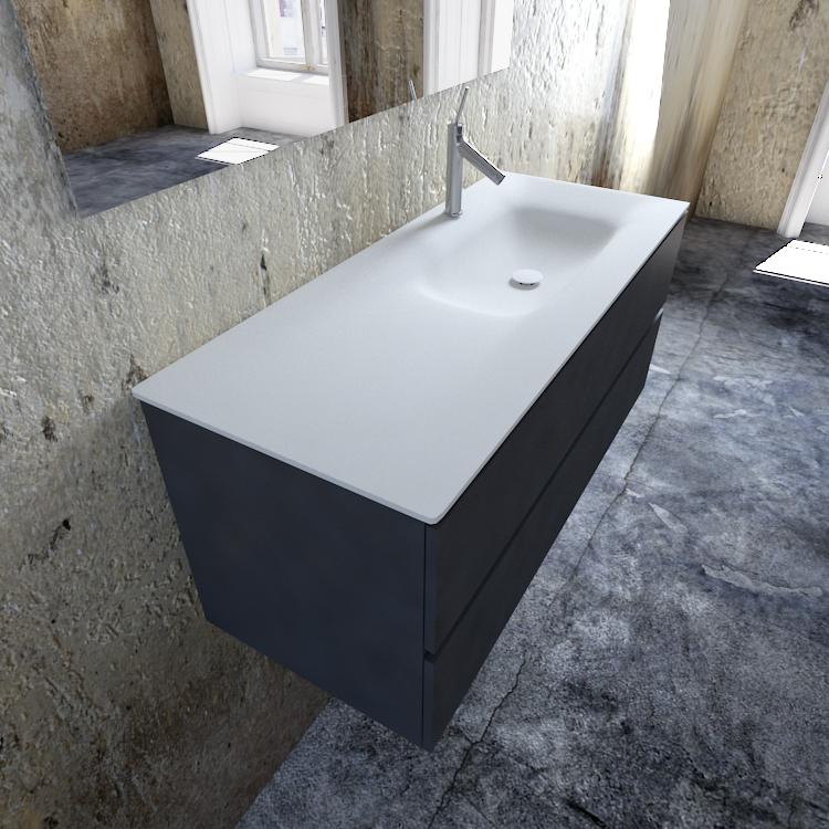 Zaro Valencia Solid Surface badmeubel 120cm mat antraciet 1 kraangat spoelbak rechts