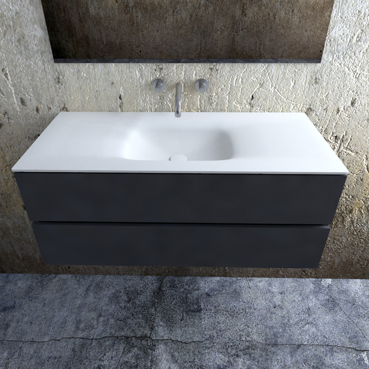 Zaro Valencia Solid Surface badmeubel 120cm mat antraciet zonder kraangat spoelbak midden