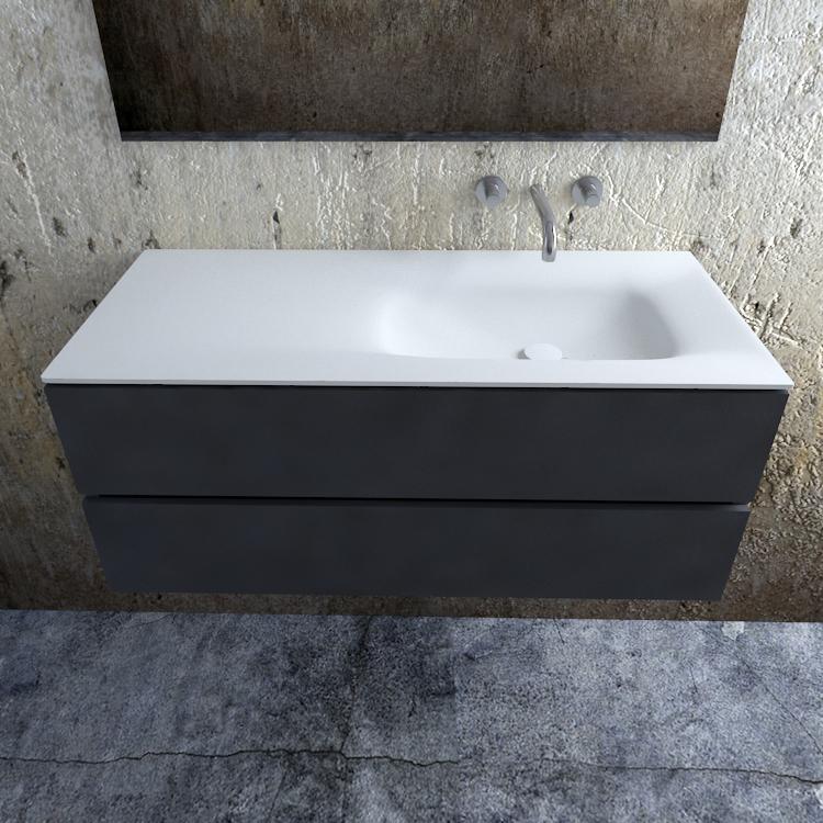 Zaro Valencia Solid Surface badmeubel 120cm mat antraciet zonder kraangat spoelbak rechts