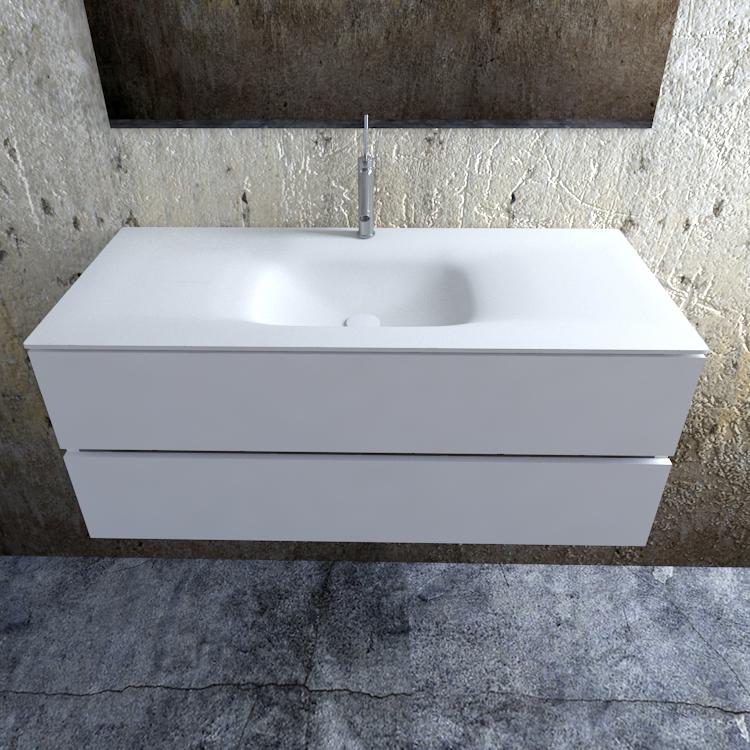 Zaro Valencia Solid Surface badmeubel 120cm mat wit 1 kraangat spoelbak midden