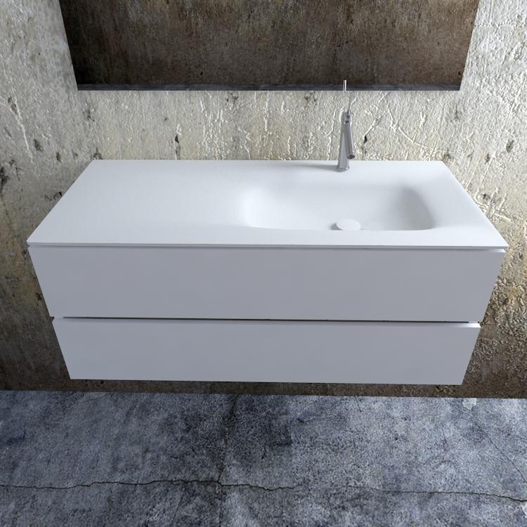 Zaro Valencia Solid Surface badmeubel 120cm mat wit 1 kraangat spoelbak rechts