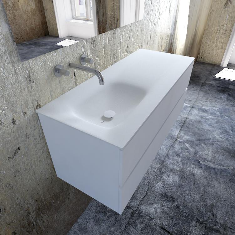 Zaro Valencia Solid Surface badmeubel 120cm mat wit zonder kraangat spoelbak links