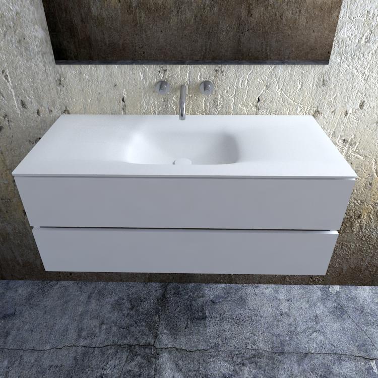 Zaro Valencia Solid Surface badmeubel 120cm mat wit zonder kraangat spoelbak midden