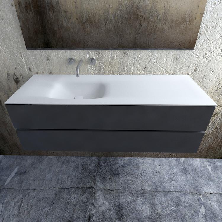 Zaro Valencia Solid Surface badmeubel 150cm mat antraciet zonder kraangat spoelbak links
