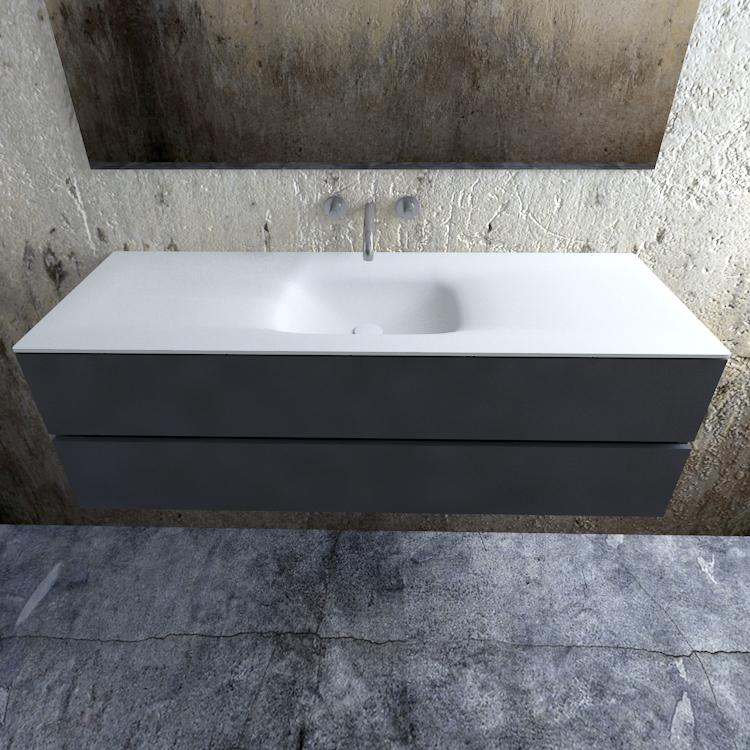 Zaro Valencia Solid Surface badmeubel 150cm mat antraciet zonder kraangat spoelbak midden