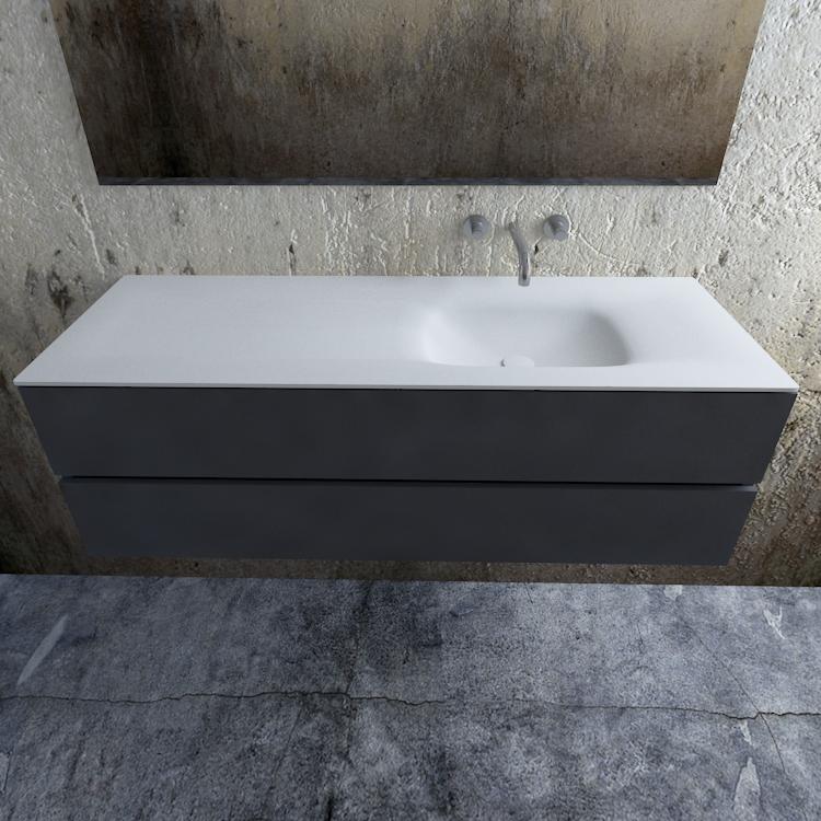 Zaro Valencia Solid Surface badmeubel 150cm mat antraciet zonder kraangat spoelbak rechts
