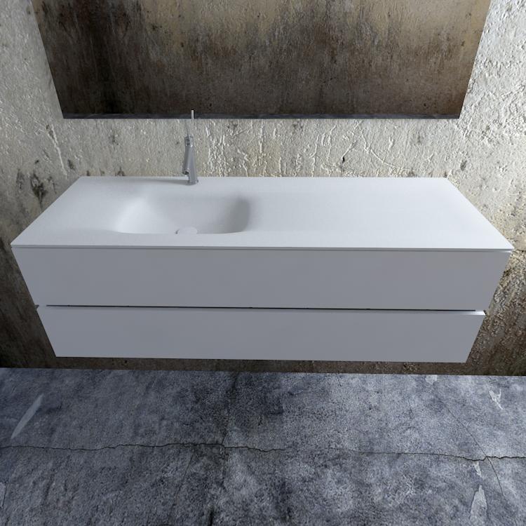 Zaro Valencia Solid Surface badmeubel 150cm mat wit 1 kraangat spoelbak links