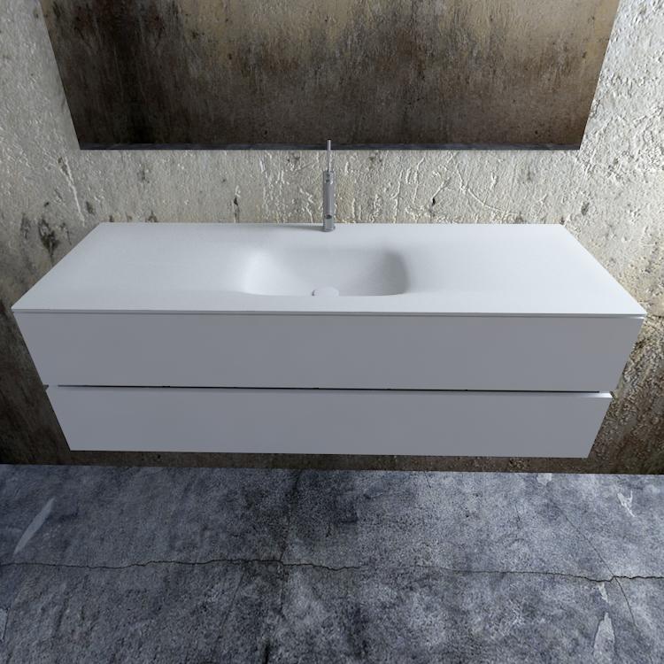 Zaro Valencia Solid Surface badmeubel 150cm mat wit 1 kraangat spoelbak midden