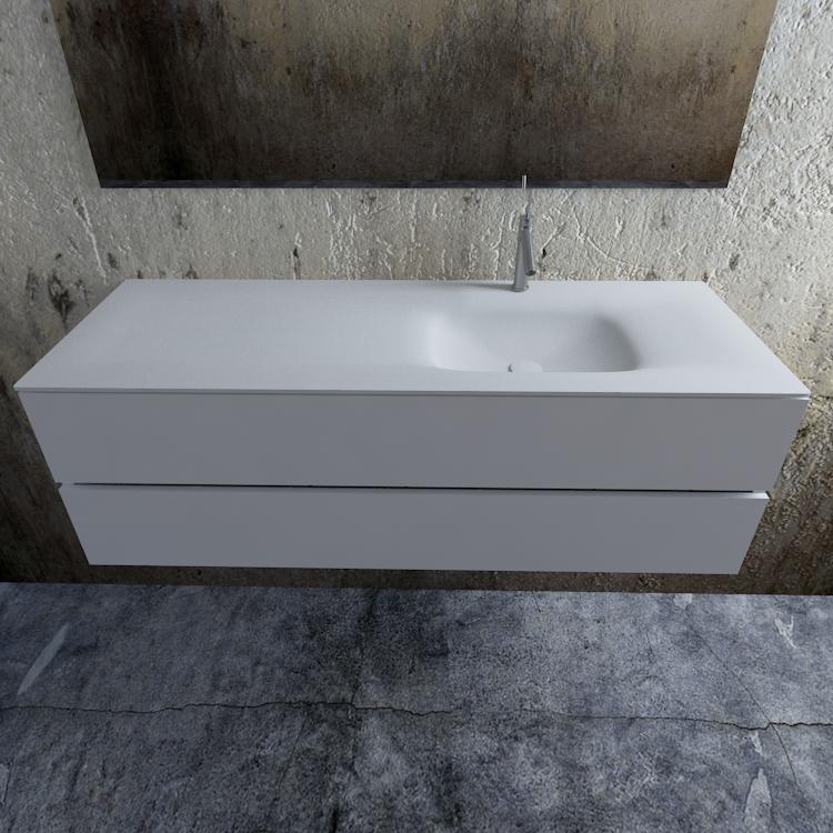 Zaro Valencia Solid Surface badmeubel 150cm mat wit 1 kraangat spoelbak rechts