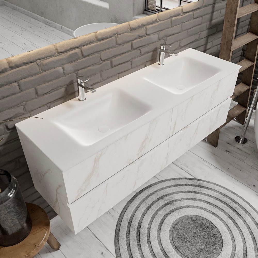 Zaro Valencia Solid Surface badmeubel 150cm mat wit marmer 2 kraangaten dubbele spoelbak met 4 lades