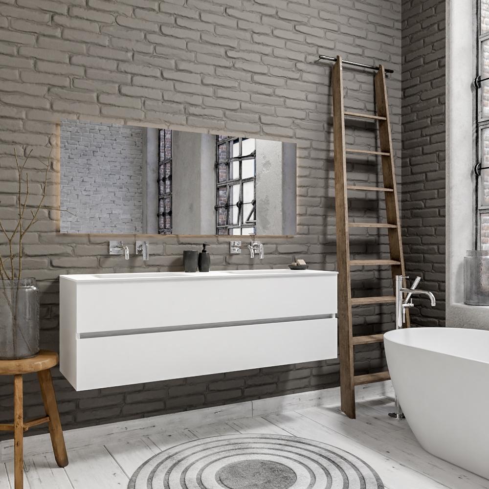 Zaro Valencia Solid Surface badmeubel 150cm mat wit zonder kraangat dubbele spoelbak