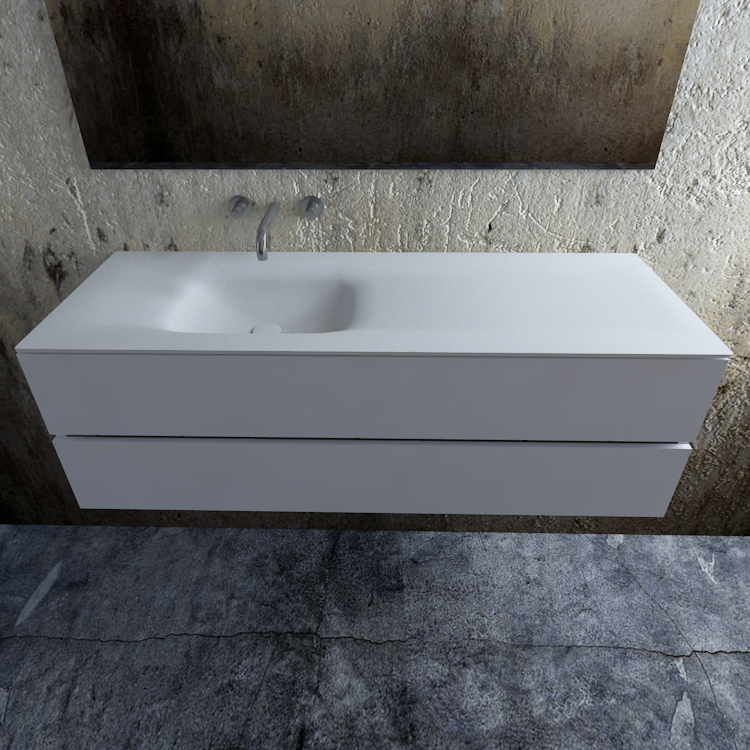 Zaro Valencia Solid Surface badmeubel 150cm mat wit zonder kraangat spoelbak links