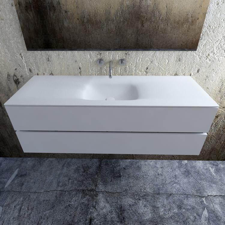 Zaro Valencia Solid Surface badmeubel 150cm mat wit zonder kraangat spoelbak midden