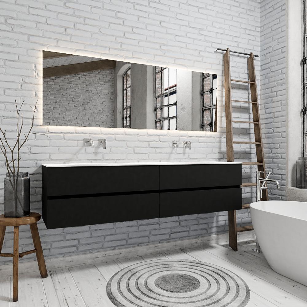 Zaro Valencia Solid Surface badmeubel 200cm mat mat zwart zonder kraangat dubbele spoelbak met 4 lad